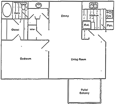 Ridge - One Bedroom / One Bath - 750 Sq. Ft.*