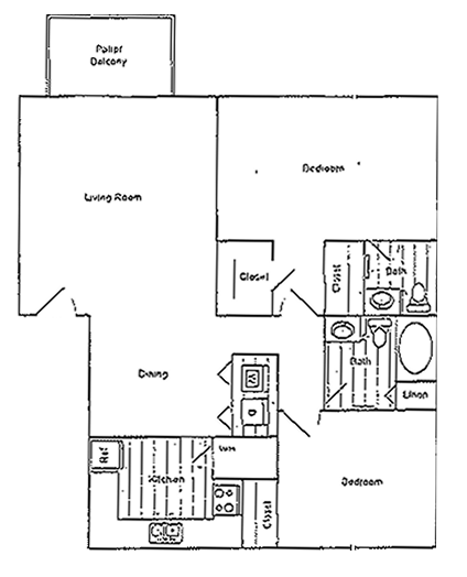 Timberline - Two Bedroom / One and 1/2 Bath - 975 Sq. Ft.*
